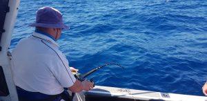Rod bent yellowfin tuna